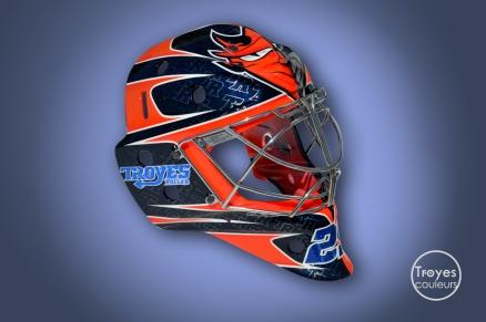 Masque de gardien de hockey pour Benjamin Heintz, Troyes Roller. Design Nicolas Ginder, O.C.D.