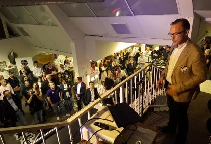 Dominique Meignien, lors de la soirée d'inauguration du Rucher Créatif.