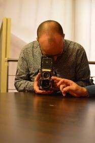 Olivier Frajman avec l'appareil de Yannick Michel, photo par Wilfried Haillot.
